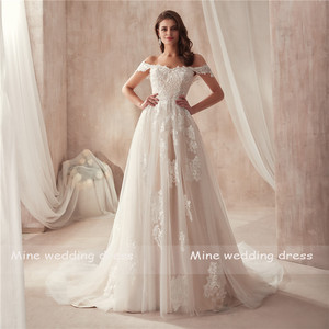 Image 2 - 2021 Off the Shoulder Nude Color Bridal Dress with Lace Applique Reals Bridal Dress New Coming Robe De Soiree Longue
