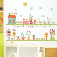 Creativo sunshine garden fiore dolce decalcomanie della parete di casa per la camera dei bambini di arte della parete decorativa poster fai da te rimovibile in pvc adesivi