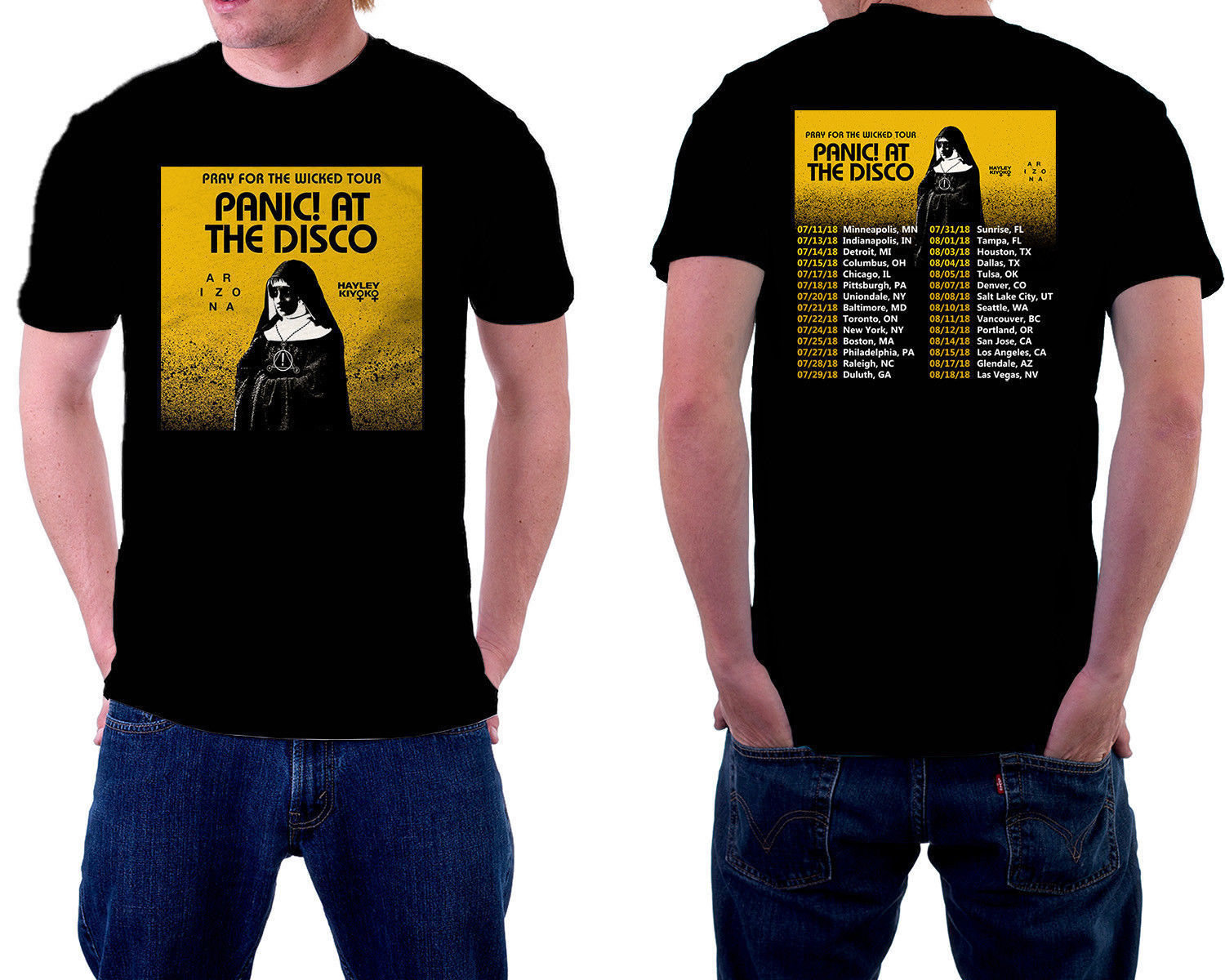 Panic at The Disco Tour 2018 Tshirt Black T-Shirt Tees Size S-3XL Short Sleeve Hip Hop T ...