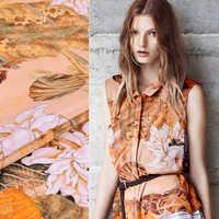 110 CM 30 MM Lotus Print Stretch Oranje Zware Zijden Crêpe Stof Goed voor Lente Zomer Jurk Rok Shirt Sjaal broek J160