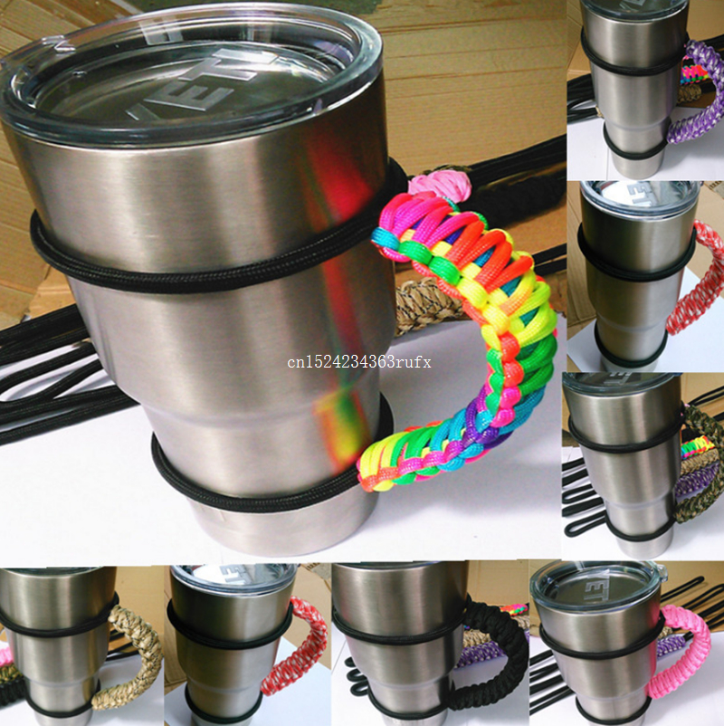 50pcs Cup Handles Parachute Rope Tumbler Handle Outdoor Portable Hand Holder Hand grip Travel 20oz 30oz