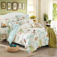 Bustling Beautiful Forest Pastoral Style Flowers Magpies Beige Background Cotton Queen Size Quilt Cover Set
