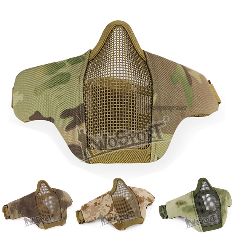 Tactical Military Steel Mesh  Mask Impact Resistance Men Women Hunting Masks Half Face Airsoft Paintball Shooting Masks