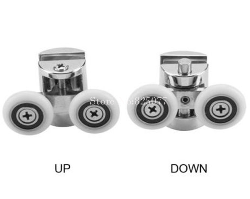 1 Set up pulley and down pulley zinc alloy shower room pulley bathroom roller glass door wheels arc wheel 23mm/25mm HM142