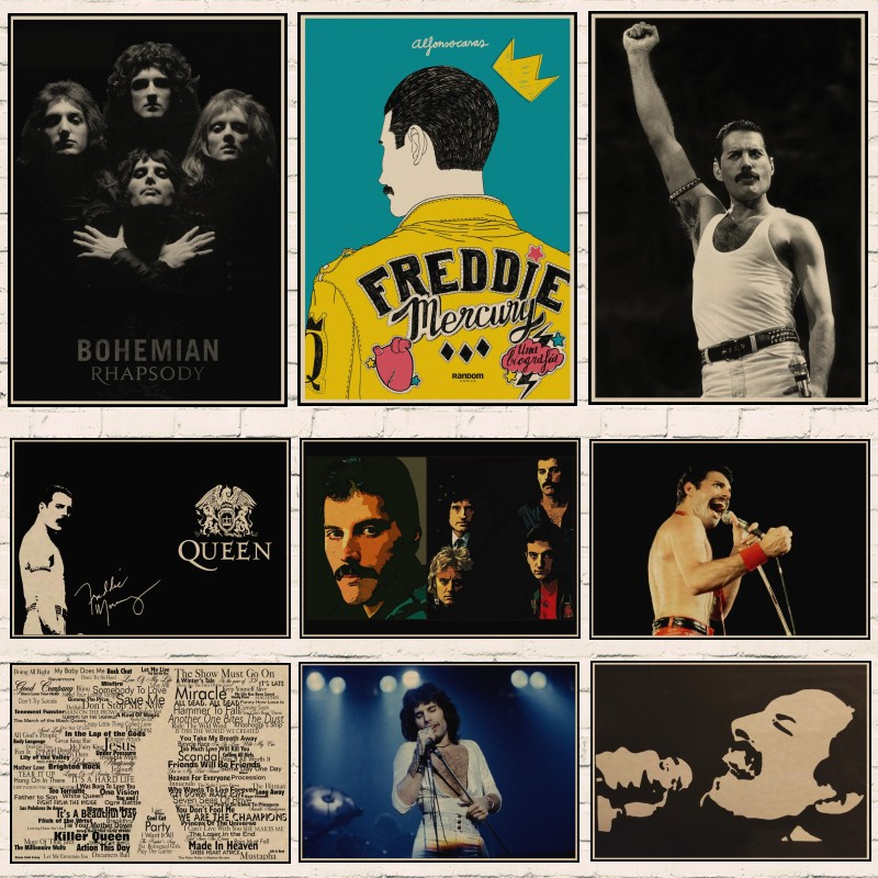 Queen Retro Poster Freddie Mercury Art Poster  Classic Retro Kraft Paper Queen Posters Home Decor  Wall Stickers  Room Decor A4