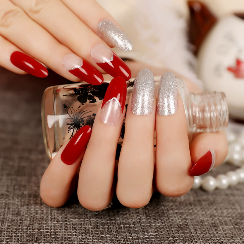 Medium Round Press On Nails Silver Glitter Decoration Artificial Deed Red Fake Nails Tips Long 24pcs/kit