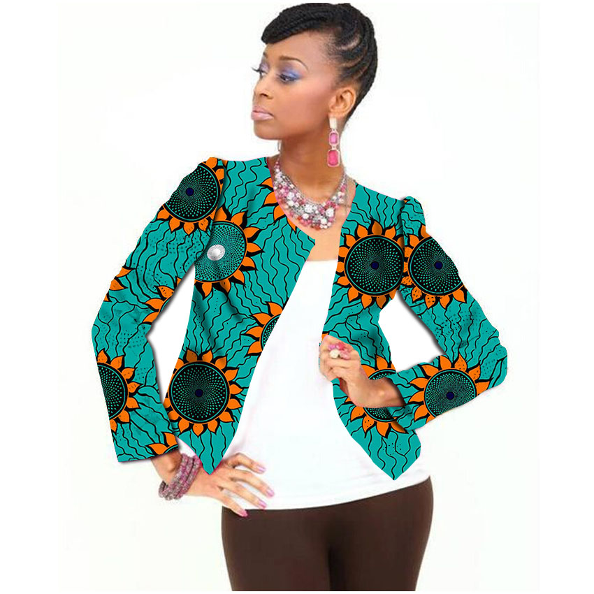 Full Sleeve Fashion Women Print African Jacket Tailored Dashiki Clothes Ladies Short Coat ...