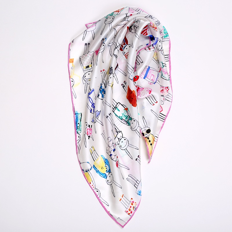LOW PRICE Small Square Silk   Scarf   Neckerchief 55cm 100% Pure Silk   Scarves   &   Wraps   Fashion Cartoon Printed Bandana Foulard