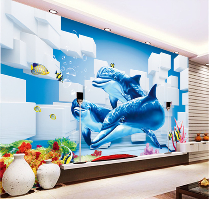Beibehang dolphins wallpaper 3d murals 3d mural photo for Dolphins paradise wall mural