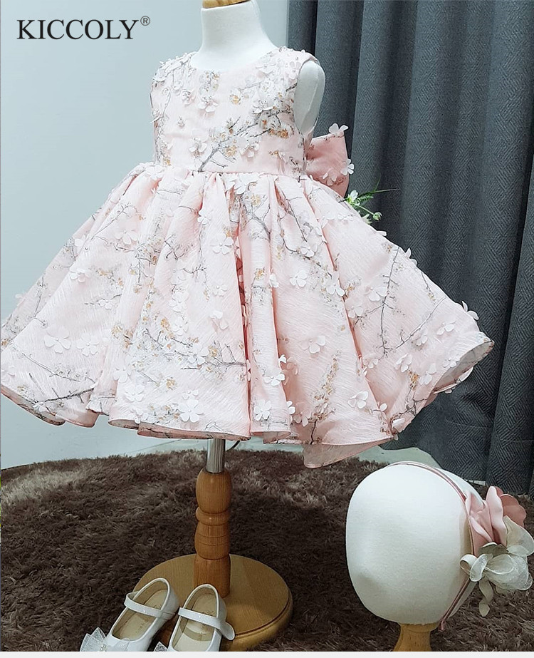 Cute Pink Tulle Floral Newborn Baby Girl Flower Lace Baptism Dresses for 1 Year First Birthday Princess Christening Gown Outfit