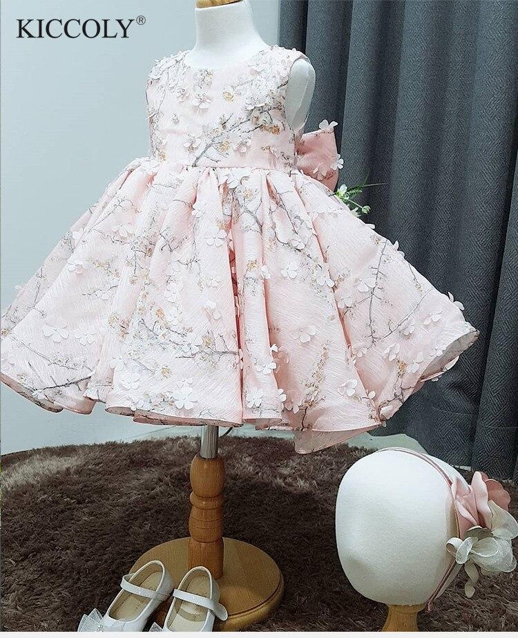 Mignon rose Tulle Floral nouveau-né bébé fille fleur dentelle robes de baptême pour 1 an premier anniversaire princesse robe de baptême tenue