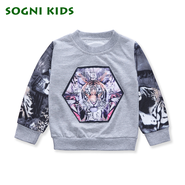 SOGNI KIDS Spring Sweatshirt for Baby Boy Tiger Printing Tattoo Sleeves Cool Boy clothes Spring 1-4Yrs