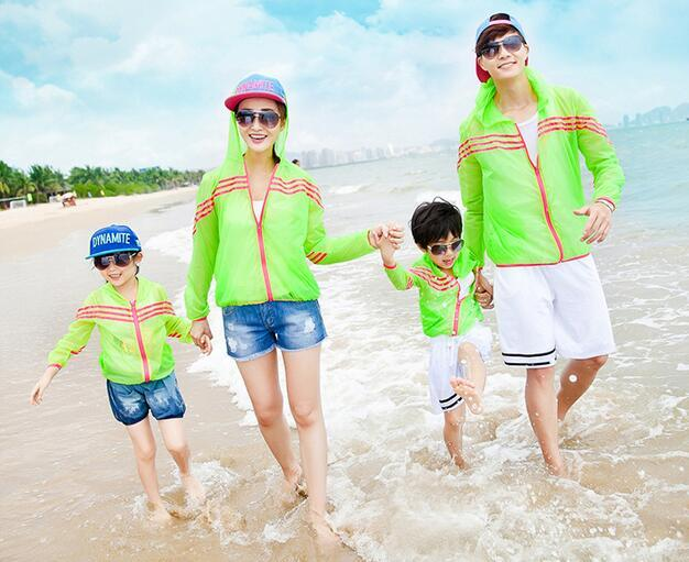 Summer Thin Family Clothing Solid Madre E Hija Ropa Father Son Active Coat Sun Protection For Mother And Daughter Clothes