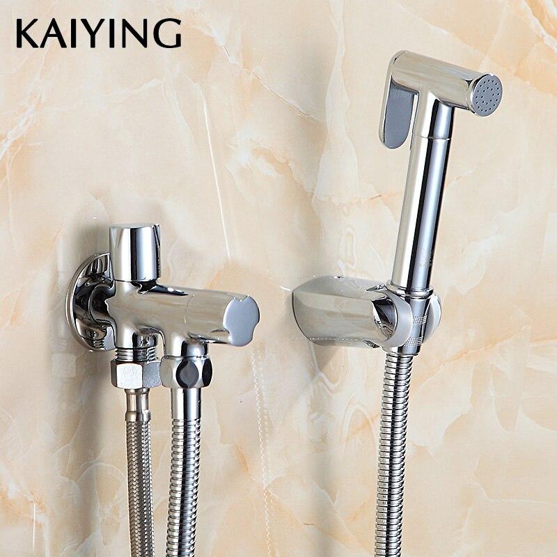 KAIYING ensemble de Douche de pulvérisation de Bidet de poche toilette Shattaf pulvérisateur kit de Douche robinet de Bidet avec tuyau et adaptateur en T et support, SP1D