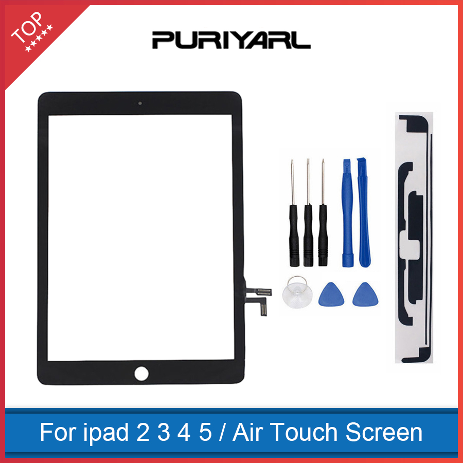 AAA Original For iPad 2 3 4 5 Air White Black Digitizer Touch Screen Front Display Glass Assembly with Home Button Flex +Tools best aaa quality for iphone 5 5c 5s lcd touch screen digitizer full set assembly white and black color with fast shipping