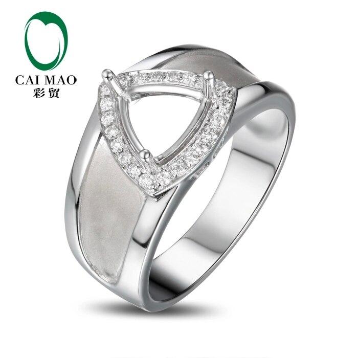 CaiMao Trillion cut Semi Mount Ring Settings & 0.16ct Diamond 18k White Gold Gemstone Engagement Ring Fine Jewelry