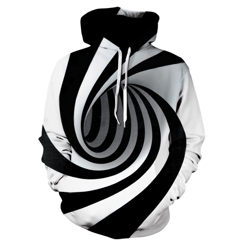 free shipping Unisex Realistic 3d Digital Print Pullover Hoodies Sweatshirt Black White Intersecting circle Mens 3D Hoodies