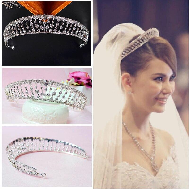 Hot Selling Bride Crystal Tiara Wedding Dress Hair Accessories Rhinestone Headband Crown for Women Queen Tiara and Crown HG162