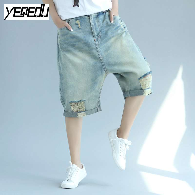 #0408 Summer 2017 Ladies ripped jeans Vintage Casual Plus size jeans for women Loose Wide leg short jeans Ripped denims violet 0408