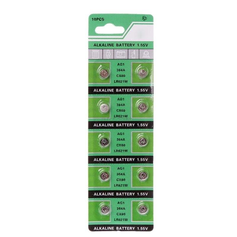 10PCS Watch Battery AG1 1.55V 364 SR621SW LR621 621 LR60 CX60 Alkaline Button Coin Cell Batteries