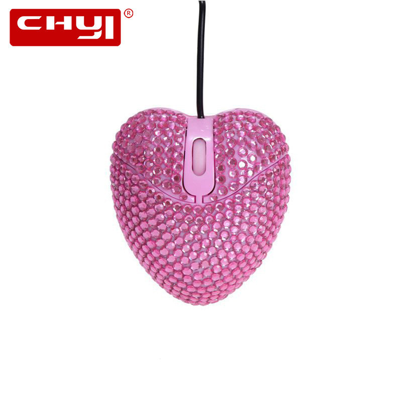 CHYI Cute Pink Heart Diamond Design Mini Mouse For Gilr Gift USB Optical Wired Mice 1000 DPI 3D Computer Office Mause For Laptop