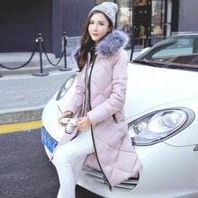 Женщин хлопка Проложенный пальто Новый 2016 зимняя куртка способа женщин толстые теплые С Капюшоном меховой воротник пуховик Ватные куртки Плюс размер