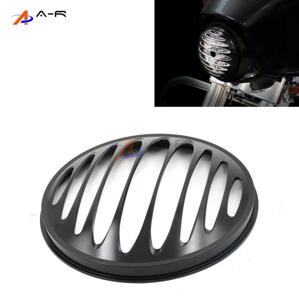 7 Round CNC Aluminum Motorcycle Headlight Grill Cover For Harley Bobber Chopper Custom Covers black headlight grill cover for harley sportster xl883 1200 04 up softail cover headlight covers 5 3 4