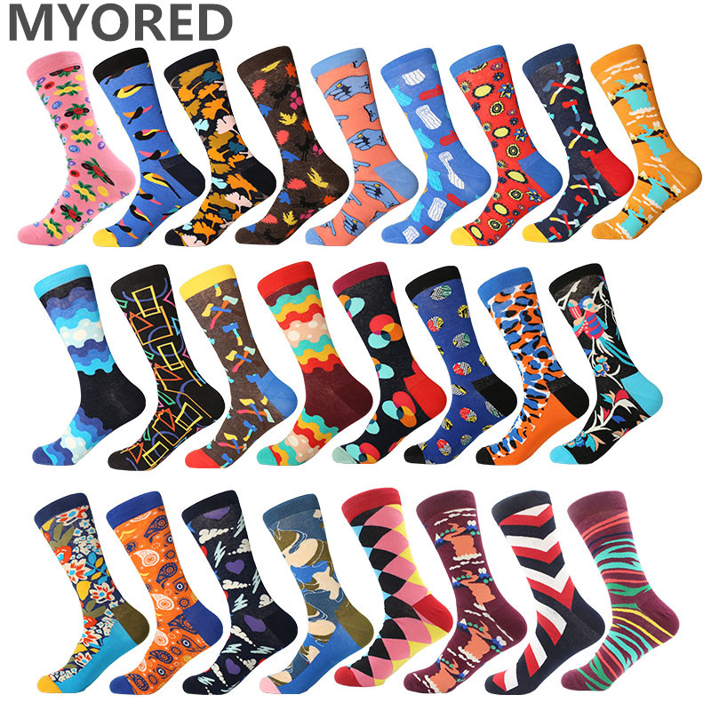 MYORED 1 pair drop shipping autumn spring winter colorful cotton men crew   socks   funny pattern harajuku   sock   Calcetines de hombre