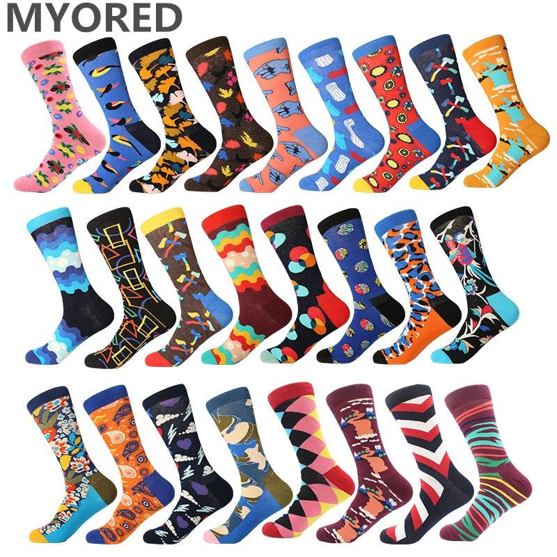 MYORED 1 Pair Drop Shipping Autumn Spring Winter Colorful Cotton Men Crew Socks Funny Pattern Harajuku Sock Calcetines De Hombre