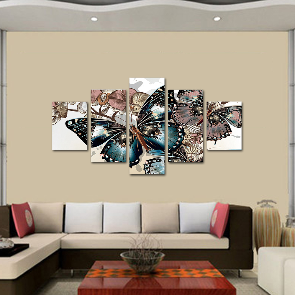 Unframed HD Print 5 Canvas Art Painting Grey Butterfly Living Room Decoration Spray Painting Mural Unframed Free Shipping
