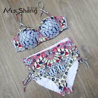 Ms Shang Print High Waist Bikini 2018 Women Swimsuit Swimwear Female Halter Top Bikini Push Up