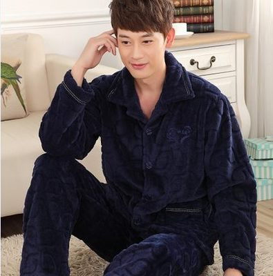 2017 estilo do Inverno homem chateado flanela pijama plus-size de lazer homens Sleepwear coral fleece longo-sleeved do agregado familiar