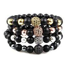 Round Black CZ Zircon Pave Lava Bracelet Men Beads Homme Dropshipping