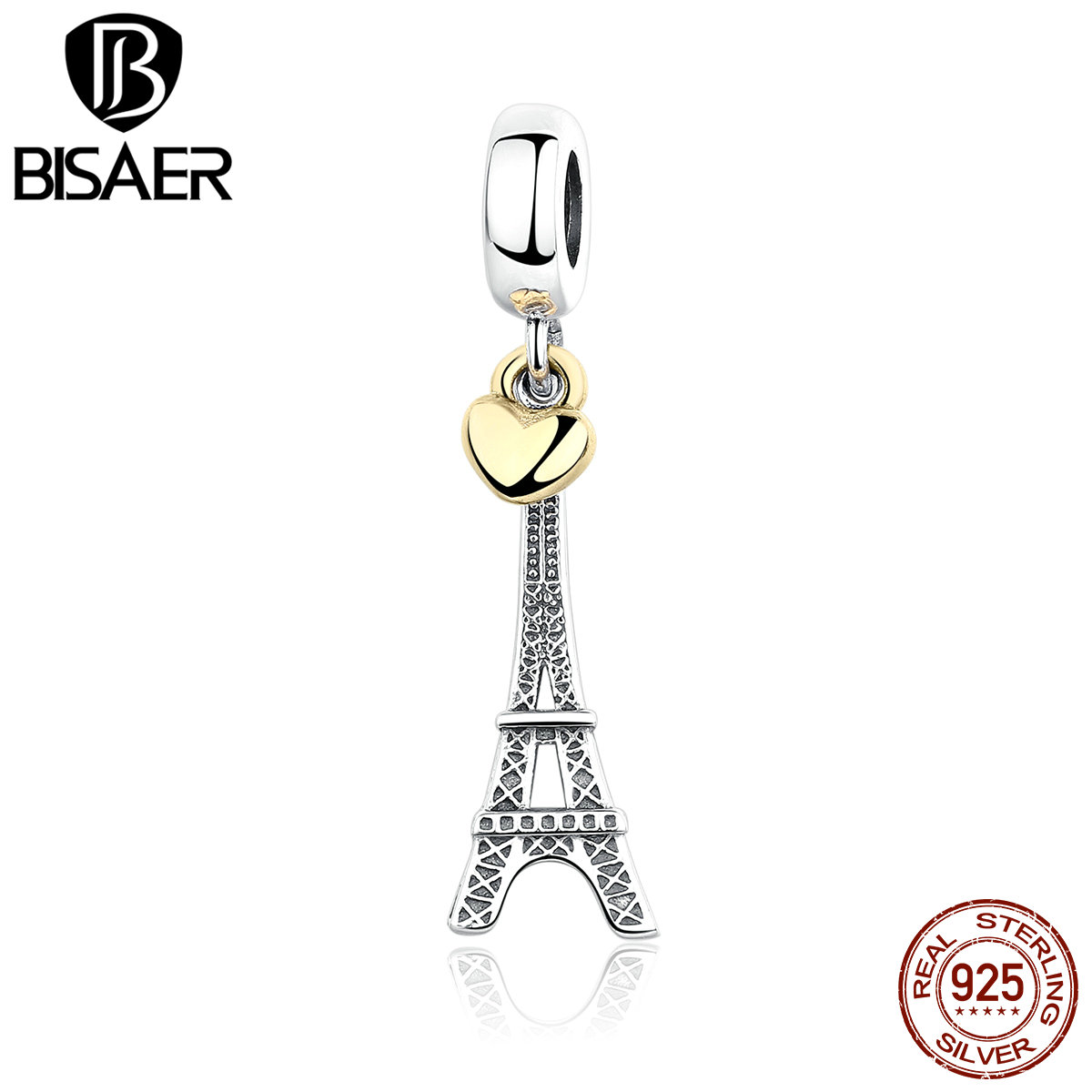 EIFFEL TOWER 925 Sterling Silver EIFFEL TOWER PENDANT CHARM with Heart Charms Fit BISAER Bracelets Beads for Jewelry Making eiffel tower