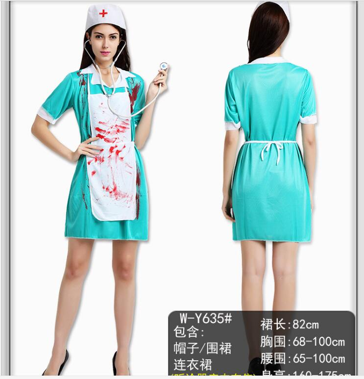 Free shipping!!Adult Halloween couples terrorist clothing with blood female nurse/male surgeons uniform zombie costume