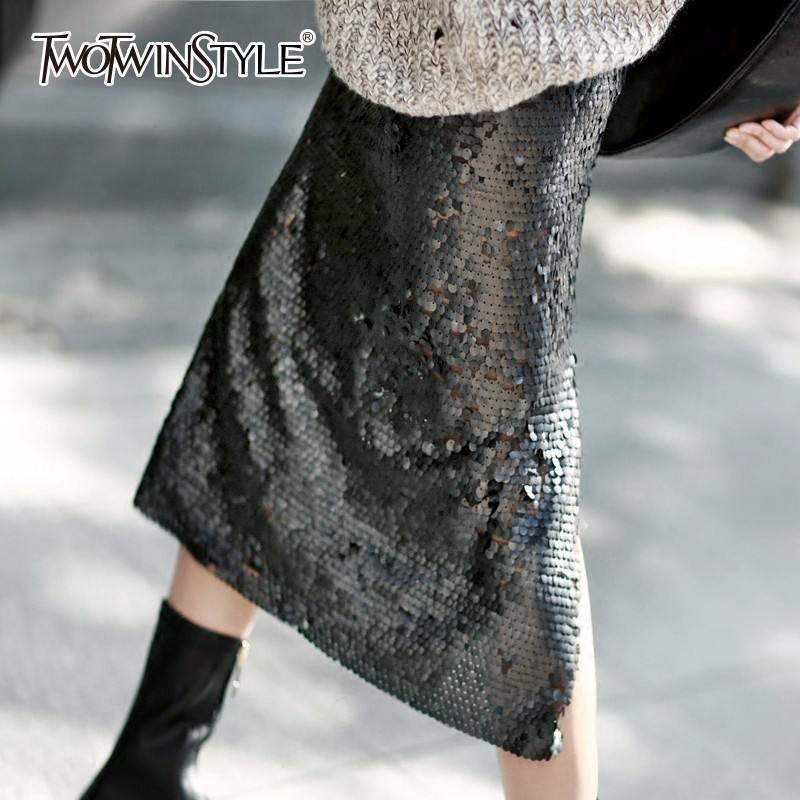 TWOTWINSTYLE Sequins Split Skirt For Women High Waist Bodycon Sexy Plus Size A Line Midi Long Skirts 2020 Spring Fashion Clothes