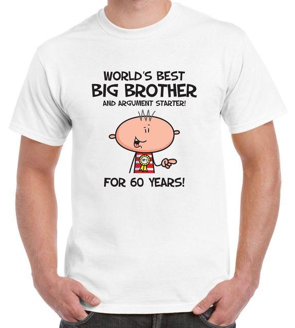Worlds Best Big Brother Mens 60th Birthday Present T Shirt
