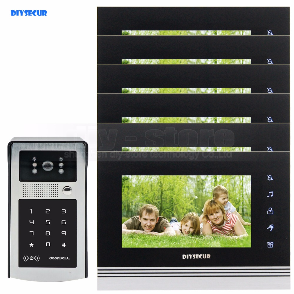 DIYSECUR 7 дюймов Сенсорный Кнопку Видео-Телефон Двери Интерком Дверной Звонок ИК Ночного Видения HD 300000 Пикселей RFID Клавиатуры Камеры 1V6