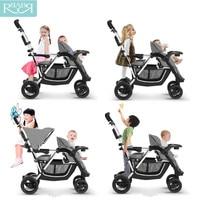 Портативный mutiple Детские коляски 3 в 1 Коляски для близнецов складной путешествия детские коляски Коляска костюм для второго ребенка лежа и