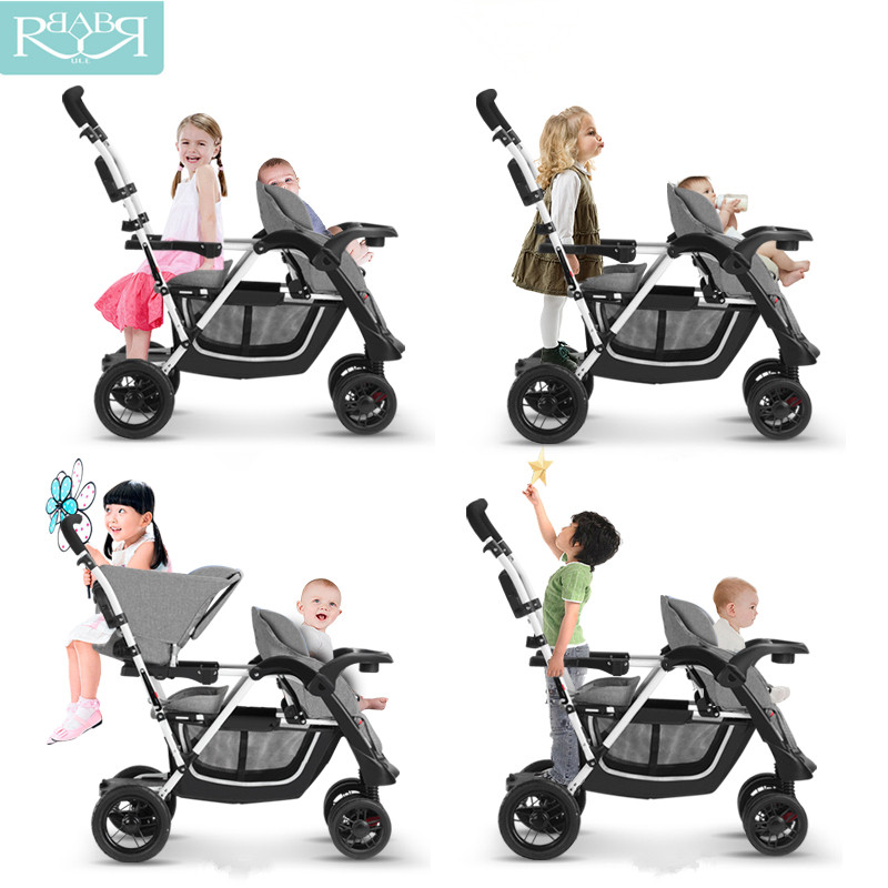 Portable Mutiple Baby Stroller 3 in 1 Strollers For Twins Folding Travel Baby Carriages Pram Suit for Second baby Lying and Seat