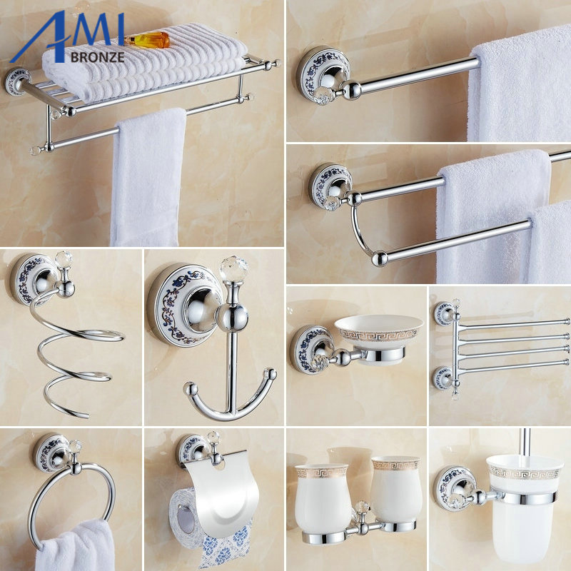 81CCP Series Chrome Polished Crystal & Porcelain Bathroom accessories Bath Hardware Set Towel Shelf Towel Bar Paper Holder Hook 81cp series chrome polished porcelain bathroom accessories bath hardware towel shelf towel bar paper holder cloth hook