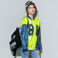 Europe Fashion BF Style Streewear Girls Slim Spring Autumn Shining Baseball Uniform Jacket Women Sequin Outwear