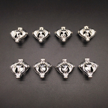 8x Bright Silver Heart Dolphin Design Jewelry Making Supplies Alloy Beads Cage Pendant Essential Oil Diffuser