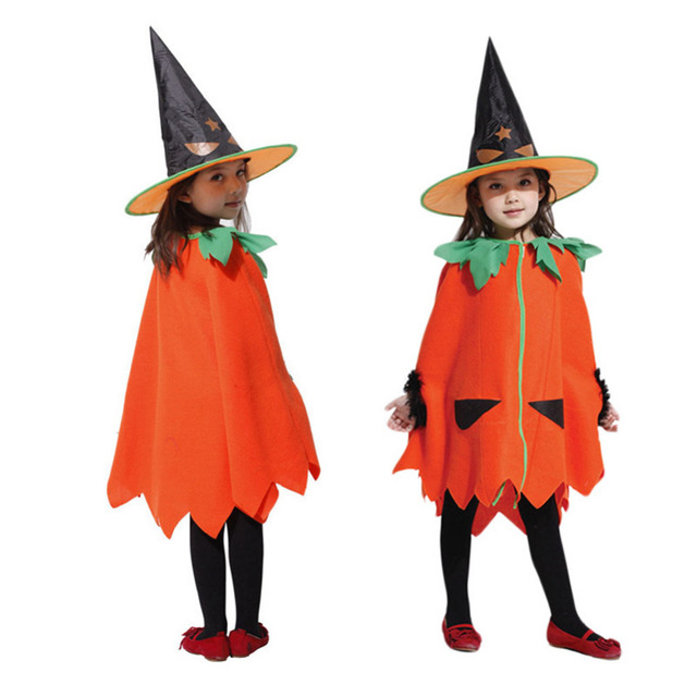 Yuerlian Halloween Pumpkin Cosplay Costume for Children Trench Coat + Hat Party Suit for Boys and Girls Pumpkin for Halloween