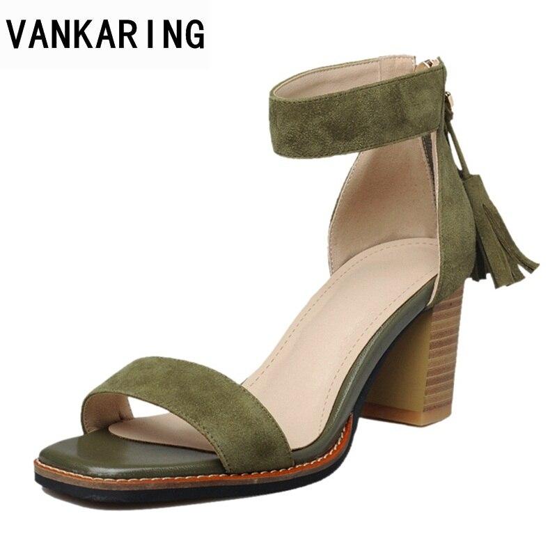 VANKARING женщин сандалии 2018 ретро молнии женская обувь разнообразный цвет высокие каблуки женщин сандалии простых Грейс женщин платье сандалии