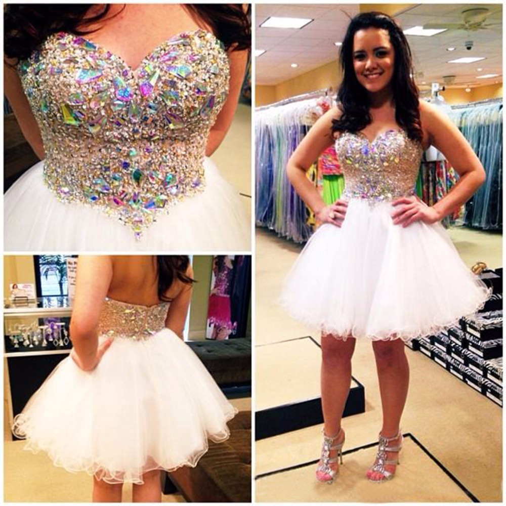 Sparkly Short White Prom Dresses Ball Gowns Beaded Tulle Short Prom