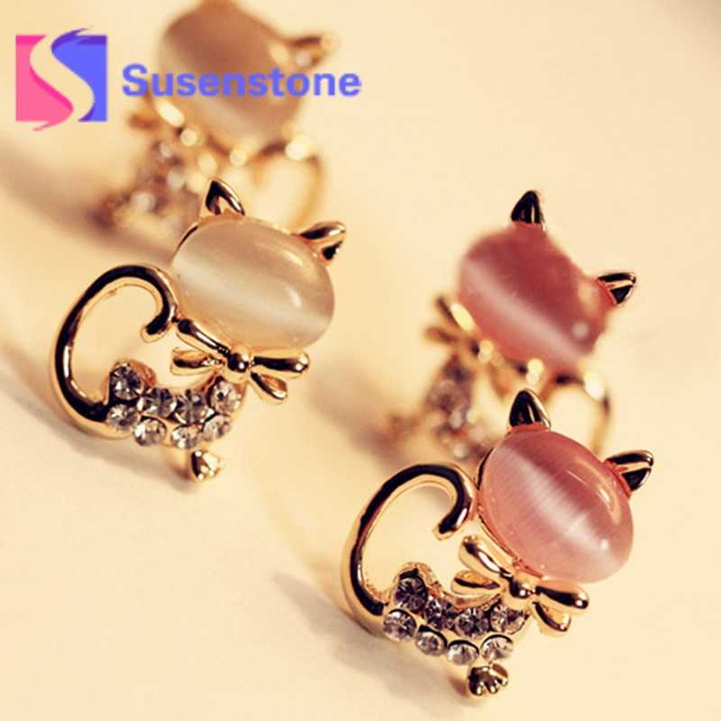 33d98cf39995c 2018 Hot Korean Fashion Cute Cat Stone Crystal Rhinestone Women ...