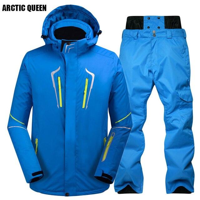 86aff2a065d7 ARCTIC QUEEN Brand Men Skiing Set Windproof Waterproof Snowboarding ...