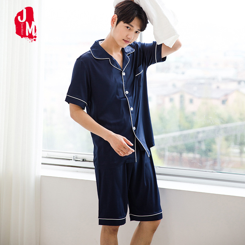 Sleepwear Men Pajama-Sets Suit Shorts Silk Men's Summer Solid Casual Turn-Down-Collar