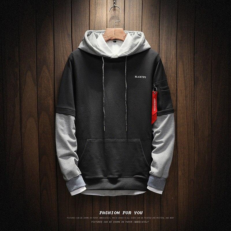 New Autumn Hoodie Patchwork Unique Ribbon Zipper Pocket Hoodies Men High Quality Cotton Slim Fit Sweatshirt Hip Hop Outwear